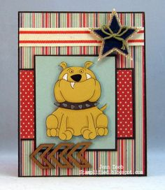 Handmade bulldog card created by Jenn Zeeb. Nice use of patterned paper. #Bulldog, #BulldogCard, #HandmadeBulldogCard, #HandmadeCard, #HomemadeCard, #HandcraftedCard, #Card, #CardIdea, #Dog, #Canine, #DogCard, #CanineCard, #HandmadeDogCard, #HandmadeCanineCard, #DoggyCard, #PuppyCard, #Doggy, #Puppy, #HandmadeDoggyCard, #HandmadePuppyCard, #Notecard,  #HandmadeNotecard, #CardForNote