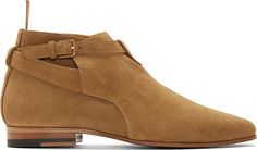 Saint Laurent: Tan Suede London Ankle Boots | SSENSE