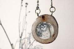 Winter Owl Necklace- Hand painted reclaimed wood owl necklace