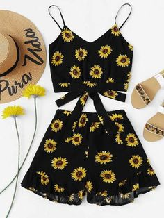 Shop Sunflower Print Cami With Ruffle Hem Shorts online. SHEIN offers Sunflower Print Cami With Ruffle Hem Shorts & more to fit your fashionable needs. Girls Fashion Clothes, Teen Fashion Outfits, Outfits For Teens, Girl Outfits, Clothes For Women, Teen Clothing, Clothing Sites, Fashion Black, Women's Clothes