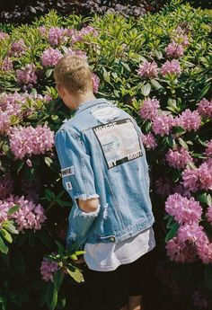 Ripped Denim Jacket with Patches on the back