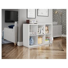 Threshold's 6 cube organizer to coordinate with existing furniture. Three shelves across far wall of playroom. Cube Shelves, Cube Storage, Storage Bins, Cube Bookcase, Record Storage, Storage Hacks, Bookcases, Storage Ideas, 6 Cube Organizer