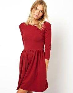 Asos Skater Dress With Slash Neck And 3/4 Sleeves on shopstyle.com