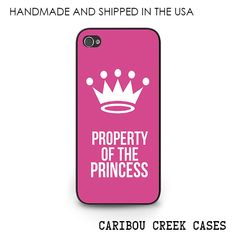 Pink Princess Phone Case for iPhone 6, iPhone 5s, iPhone 5c, iPhone 4s Disney Crown Property of the Princess Gift for Girls #handmade #indiemade