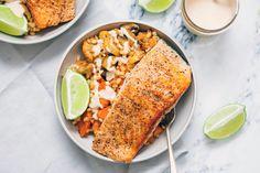 Salmon over Sweet Smoky Spicy Veggies and Barley [OC] [5616  3744] #foodporn #food #foodie #yummy #yum #foodgasm #nomnom #delicious #recipe
