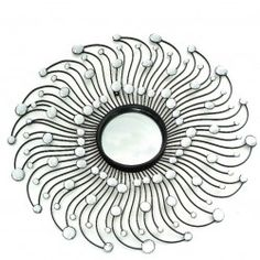 Espejo metálico negro con forma de sol 73x3x73 cm.