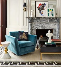 Luxe up your living room with Jonathan Adler Sebastian Swivel Chair. Interior Desing, Interior Inspiration, Interior Decorating, Decorating Games, Room Inspiration, Interiores Art Deco, Living Room Decor, Living Spaces, Dining Room