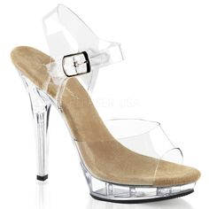 "CLEARLY-430, 4 1/2"" Closed Back Ankle Strap Sandal in Clear"