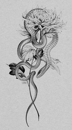 Mommy Tattoos, Body Art Tattoos, Sleeve Tattoos, Snake And Dagger Tattoo, Snake Tattoo, Snake Drawing, Snake Art, Tattoo Sketches, Tattoo Drawings