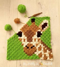 My Hobby Is Crochet: Free Crochet Pattern + Graph: Giraffe Square - Wildlife Graphghan CAL Block 9 Crochet C2c Pattern, Pixel Crochet, Crochet Blocks, Crochet Squares, Crochet Blanket Patterns, Baby Blanket Crochet, Crochet Baby, Free Crochet, Knitting Patterns