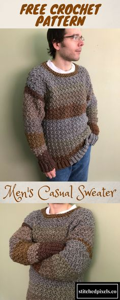 The Men's Casual Sweater is a perfect first sweater project for any crocheter. I have included dozens of photos to help beginners and experienced crocheters alike. The bulky yarn works up quickly, and you could complete yours in as little as 8 hours (or even less if you are a fast crocheter).The design is easily adjustable to any size or height, so you should get a perfect fit on any body type.