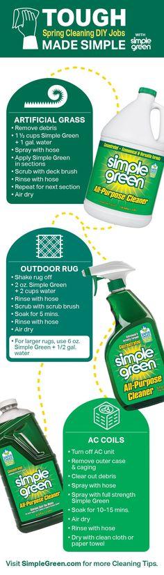 Time to take the spring cleaning outside! Just because these jobs are more heavy-duty doesn't mean they're more difficult. Grab the Simple Green All-Purpose Cleaner and follow these simple steps. Diy Cleaning Products, Cleaning Hacks, Deck Brush, Make It Simple, Spring Cleaning List, Green Cups, How To Remove, How To Apply, All Purpose Cleaners