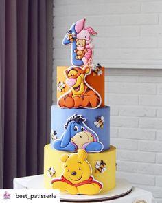 Winnie The Pooh Cake, Winnie The Pooh Birthday, Cute Happy Birthday, Baby Birthday Cakes, Baby Shower Cakes, Cake Designs, Cupcake Cakes, Creations, Cake Ideas