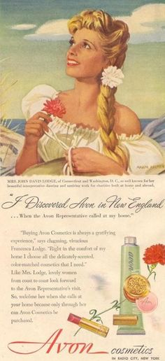 "Vintage Avon from about 1949. The ""Avon Calling Coast to Coast"" campaign. Headline: I Discovered Avon in New England ... When the Avon Representative called at my home. Now your Avon Lady can call on your online, register with me today! http://avonladynj.com/contact-the-avon-lady-of-new-jersey"
