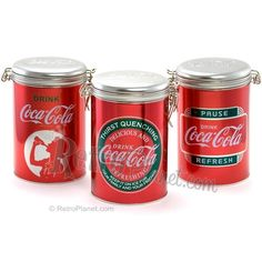 Coca-Cola Lock Top Tin Canisters Set of 3  http://www.retroplanet.com/PROD/31209