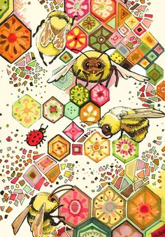 Bees Of Confusion Art Print by Christina Siravo I Love Bees, Bee Art, Bee Crafts, Bee Theme, Save The Bees, Bee Happy, Bees Knees, Queen Bees, Bee Keeping
