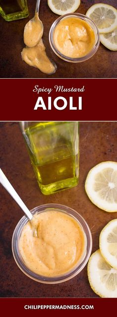 Spicy Mustard Aioli - Make your own homemade aioli with this recipe, including egg yolk, Dijon mustard, lemon juice, olive oil, garlic and a dash of chili powder for a spicy touch. It is easier to make than you think.