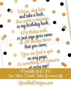 Halloween Birthday Guest Book Sign Black by SprinkledDesign