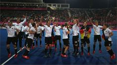 Germany players celebrate winning gold against Netherlands in the Men's Hockey gold medal match on Day 15 of the London 2012 Olympic Games at Riverbank Arena