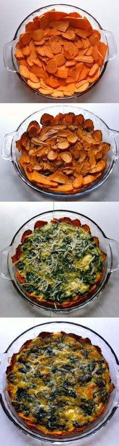 """Low carb quiche Sweet Potato Crusted Spinach Quiche """"You can always substitute the cheese in this recipe with vegan cheese if you want to make it Paleo."""" """"6 small sweet potatoes Olive oil spray 1 bunch organic spinach 1/2 small onion 1 clove garlic 4 eggs 1 cup grated fresh mozzarella Spring herbs (dill, parsley, chives) to taste 1 tablespoon organic white miso (optional) 1/4 cup goat cheese 1/4 cup asiago cheese (to sprinkle on top) Sea salt and pepper to taste"""""""