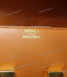 Replica Hermes Mini Stewardess Bag Orange Plain Veins Leather HS018-02 - Voguekingbag.cn