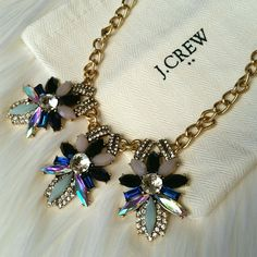 J. Crew Necklace Gorgeous statement necklace. Dark blue, light blue, iridescent and clear gems.  Brand new with tags. Comes with dust bag. J. Crew Jewelry Necklaces
