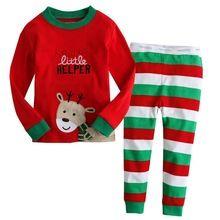 cotton Long sleeves girls boys baby kids children clothing sets suits pajama 2 piece 2-7 age sleepwear fashion Father Christmas(China (Mainland))