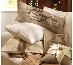 Pillows-could also be made with burlap