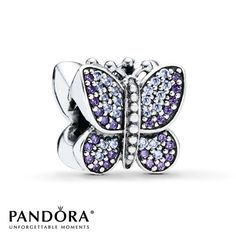 Pandora Butterfly Charm Purple & Clear CZ Sterling Silver  I want this!!!
