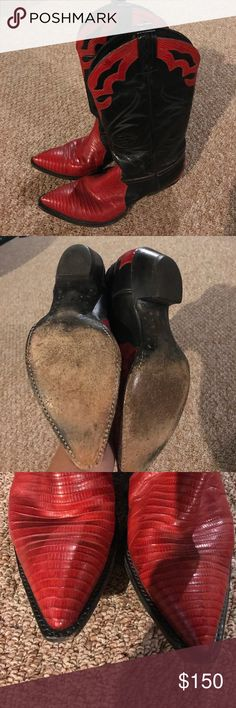 Red and black cowboy boots These are beautiful boots. Genuine leather. The beauty of these,  are that they are already broke in. Make an offer. Tony Lama Shoes