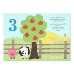 Farm Animals Tree Number Birthday Party Photo Card