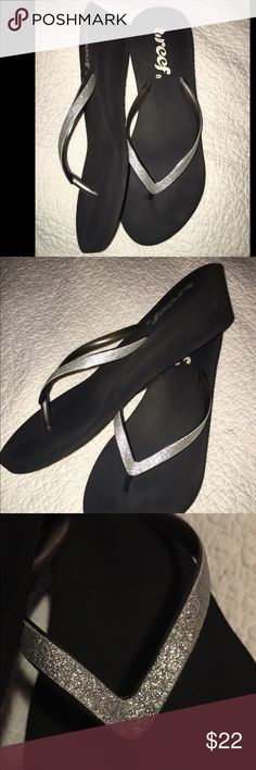 "❤️REEF black wedge flip flop  silver sparkle top Worn twice.  No damage only slightly dirty on bottoms and light fading to the reef logo by heel . 2 "" wedge REEF Shoes Sandals"
