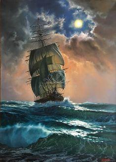Marek Ruzyk ~ The Seascape ) Boat Drawing, Ship Drawing, Ship Tattoo Sleeves, Old Sailing Ships, Wall Art Wallpaper, Ship Paintings, Stormy Sea, Boat Painting, Fantasy Landscape