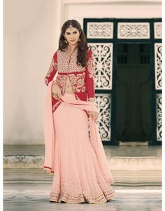 Peach Georgette Lehenga Choli with Resham Embroidery Work
