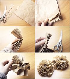 One style of brown paper bag flowers :) Paper Bag Flowers, Tissue Flowers, Diy Flowers, Fabric Flowers, Paper Roses, Book Crafts, Crafts To Make, Paper Crafts, Diy Crafts