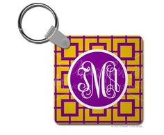 Purple/Yellow Squared Keychain