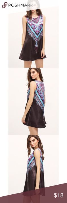 Tribal Print Chiffon Shift Black Dress 🎀COMING SOON🎀 Very cute, flowy, short, black dress. A line. 100% polyester. Very vintage. Size large. Shoulder: 13.8 inches. Bust: 39 inches. Length: 31.5-32.7 inches. Brand new. Boutique Dresses Mini