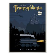 Romania Travel Inspiration - Steve Thomas [Illustration]: Transylvania by Train vintage travel poster - just in time for Halloween Travel Ads, Train Travel, Travel Europe, Train Trip, Japan Travel, Party Vintage, Steve Thomas, Wall Art Prints, Canvas Prints