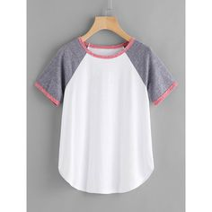 Contrast Binding Raglan Sleeve Tee (44490 PYG) ❤ liked on Polyvore featuring tops, t-shirts, white multicolor, cotton t shirts, white tee, sports tees, raglan t shirt and cotton tees