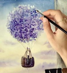 Purple hot air balloon flower