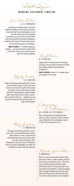 A Wedding Stationery Timeline From Bella Figura Shows When To Order Your Save The Dates Invitationore Nifty Little Guide Completing