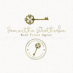 antique key logo real estate logo photography logo realtor logo design gold foil logo boutique logo design premade logo design bespoke logo