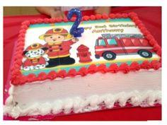 Fireman firetruck Image Edible cake topper