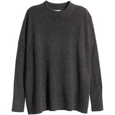 H&M Cashmere jumper (120 CAD) ❤ liked on Polyvore featuring tops, sweaters, shirts, h&m, dark grey, h&m sweater, cashmere tops, h&m tops and cashmere sweaters