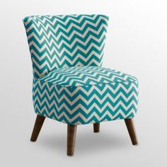 MCM Chair - Zig Zag Teal/White