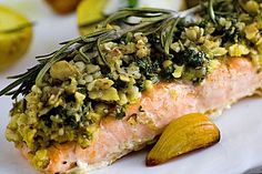 Salmon with parmesan herb and walnut crust, a great recipe from the roast category. Ratings: Average: Ø Salmon with parmesan herb and walnut crust, a great recipe from the roast category. Healthy Salmon Recipes, Healthy Dessert Recipes, Shrimp Recipes, Fish Recipes, Healthy Dinner Recipes, Great Recipes, Fish Dishes, Food Inspiration, Meal Prep