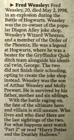 Battle of Hogwarts obituaries; Fred Weasley yer-a-wizard-harry