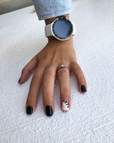 55 Acrylic Coffin Nail Designs to Try 2019 Black leaf - botanical nails, nail art designs, nail designs, nail art, nail designs acrylic Black Nail Art, Black Nails, White Nails, Nail Art Designs, Black Nail Designs, Mirror Nails Powder, Semi Permanente, Pretty Nail Art, Nail Art Hacks