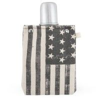 Americana Canvas Flask with Shot Cup Lid - 4 oz