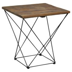 Defined by a structural base, this handsome end table is topped with reclaimed fir wood.   Product: End tableConstr...